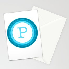 Blue letter P Stationery Cards