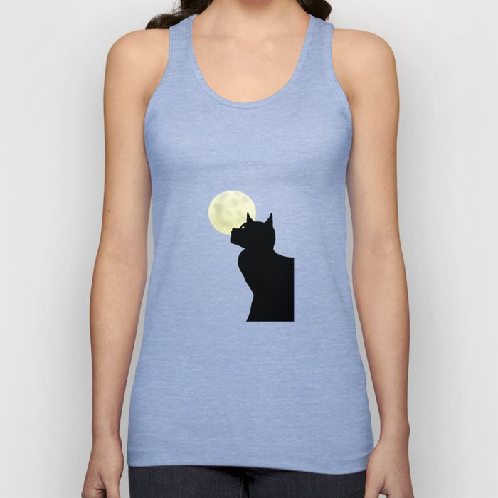 Moon and black cat Unisex Tank Top