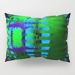 Green Layered Star in Aqua Flames Pillow Sham