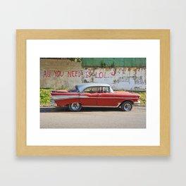Vintage Car Classic American Automobile Cuba Bel Air Red LOL Graffiti Framed Art Print
