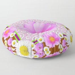 Floral Abundance Brown Shasta Daisy Pink Roses Abstract Art Floor Pillow