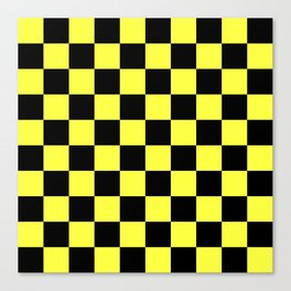 Black and Yellow Checkerboard Pattern Canvas Print