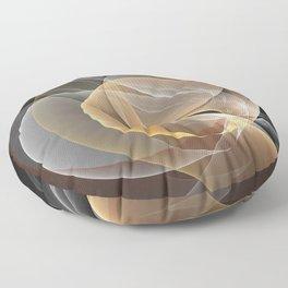 Brown, Beige And Gray Abstract Fractals Art Floor Pillow