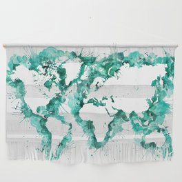 Watercolor splatters world map in teal Wall Hanging