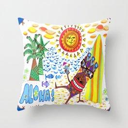 Mid Century Modern Hawaiian Tiki Toast blue border Throw Pillow