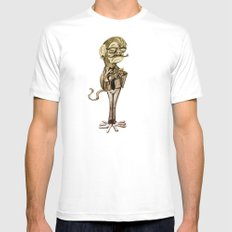 Hipster Monkey Mens Fitted Tee White MEDIUM
