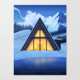 Just a Cabin in the Snow Canvas Print