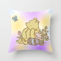 pooh Throw Pillows featuring Classic Pooh by kltj11