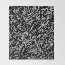 Silver Hand-Drawn Floral-Leaf Throw Blanket