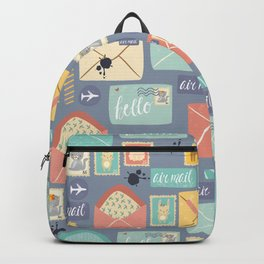 Retro styled pattern with letters and postcards Backpack