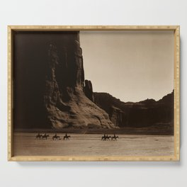 Navajo Riders - Canyon de Chelly - Edward Curtis Photo Print Serving Tray