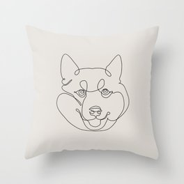 One Line Shiba Inu Throw Pillow