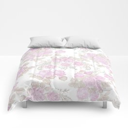 Vintage chic pastel pink green romantic roses floral Comforters