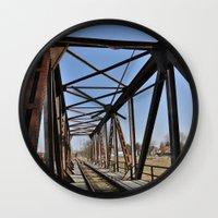 bridge Wall Clocks featuring Bridge by Falko Follert Art-FF77