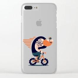 Big biker on a small bike Clear iPhone Case