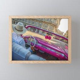 Pink taxi ride in Old Havana Framed Mini Art Print