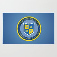 video game Area & Throw Rugs featuring THE CREST of video game high school  by studiomarshallarts