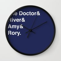 doctor Wall Clocks featuring Doctor& by Dweezle