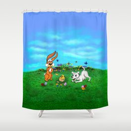 Easter - Spring-awakening - Puppy Capo with Rabbit and Chick Shower Curtain