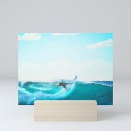 Surfing the wave... Mini Art Print