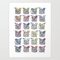Brompton Bicycle 24 multi coloured tiny bikes. Art Print