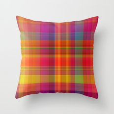 Plaid, hot colors Throw Pillow