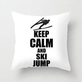 Keep Calm And Ski Jump Throw Pillow