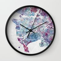 vancouver Wall Clocks featuring Vancouver map by MapMapMaps.Watercolors