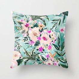 JUNGLE ROMANCE Mint Blush Tropical Floral Throw Pillow