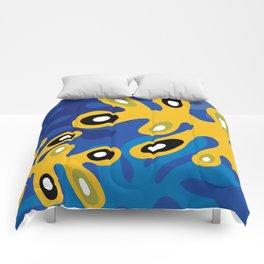 Amoeba Leaf Blue Comforters