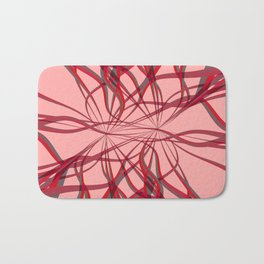 Curves 20c Abstract Red Ribbons Lines and Swirls Bath Mat