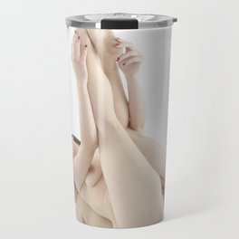 9412-KMA Nude Woman on Mirror Legs Feet Up High Key Fine Art Travel Mug