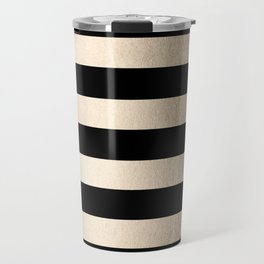 Simply Striped White Gold Sands on Midnight Black Travel Mug