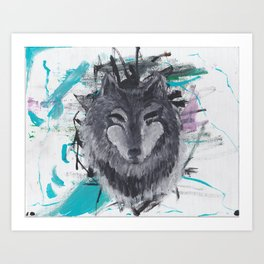 Wolf Abstract Acrylic Painting Art Print