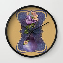 Purple Genie Bottle & Roses Wall Clock