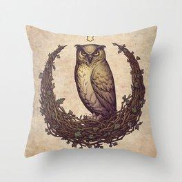 Owl Hedera Moon Throw Pillow