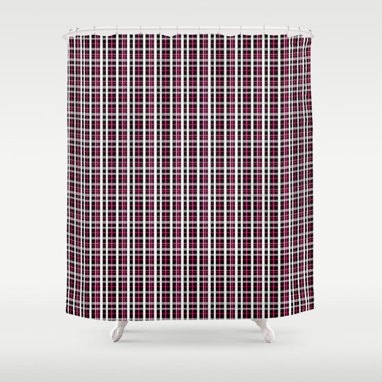 Black Red White Checkered Pattern Shower Curtain By Artdeco Society6
