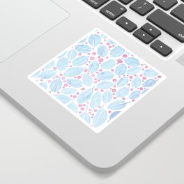 Blue Leaves and Pink Berries Sticker