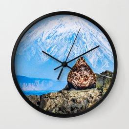 Proud sea lion Wall Clock
