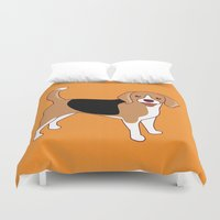 beagle Duvet Covers featuring Beagle Dog by TinyBee
