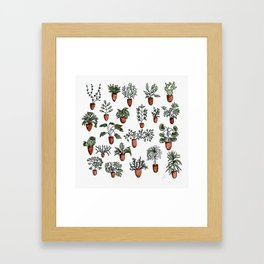 Succulent Houseplants in Terracotta Pots, Watercolor Cacti & Plant Wall Art Framed Art Print