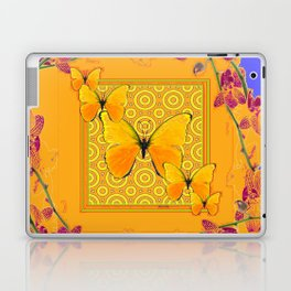 Golden Yellow Butterflies Orchid Sprays Purple Lilac Patterns Laptop & iPad Skin