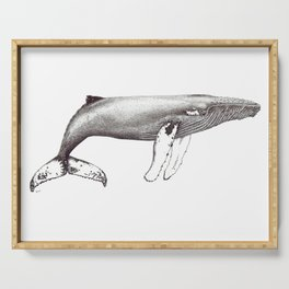 Humpback whale black and white ink ocean decor Serving Tray