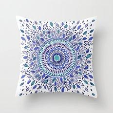 Indigo Flowered Mandala Throw Pillow