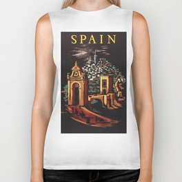 Retro Spain Travel Ad Poster Biker Tank