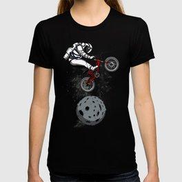 Biker Astronaut Riding Bike Outer Space T-shirt