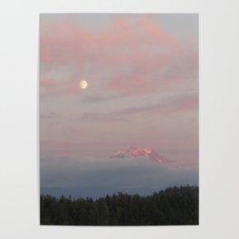Mount Rainier Moon Rise Poster