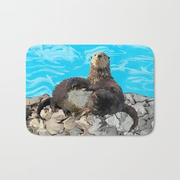 Where the River Meets the Sea Otters Bath Mat