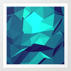 Blue Geometric Triangles Art Print