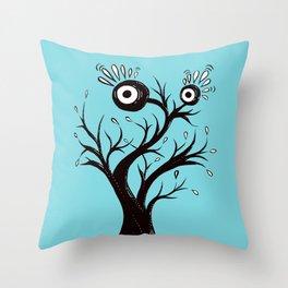 Weird Tree Monster Ink Drawing Throw Pillow